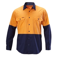 Hard Yakka Koolgear Long Sleeve Shirt - S Orange / Navy
