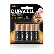 Duracell AA Coppertop Batteries - 5 Pack