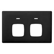 HPM LINEA Double Autoswitch Powerpoint Coverplate - Asphalt
