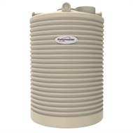 Polymaster 2250L Tall Round Corrugated Poly Water Tank - Smooth Cream