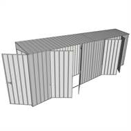 Build-a-Shed 0.8 x 6 x 2m Hinged Door Tunnel Shed with Dual Double Hinged Side Doors - Zinc