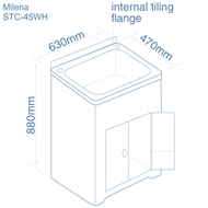 Milena SOLO - 45L Poly Laundry Trough and Poly Cabinet