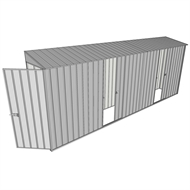 Build-a-Shed 0.8 x 5.2 x 2m Hinged Door Tunnel Shed with Dual Single Sliding Side Doors - Zinc