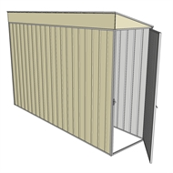 Build-a-Shed 0.8 x 3 x 2m Hinged Door Tunnel Shed - Cream