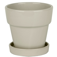 Lotus Collection 15cm Glazed Ceramic Pot with Saucer   - Beige
