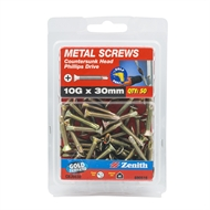Zenith 10g x 30mm Countersunk Head Metal Screws - 50 Pack