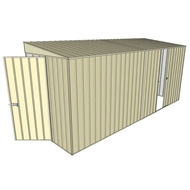 Build-a-Shed 1.5 x 4.5 x 2m Hinged Door Tunnel Shed with Hinged Side Door - Cream