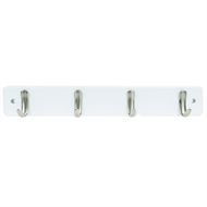Perma Products 4 Brushed Nickel Hooks White Board Hook Rack