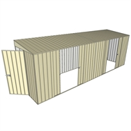 Build-a-Shed 1.5 x 6 x 2m Skillion Dual Double Sliding Side Doors Shed - Cream