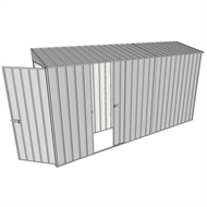 Build-a-Shed 0.8 x 3.7 x 2m Tunnel Hinged Door Shed with Single Sliding Side Door - Zinc