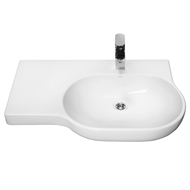 Caroma Opal 720mm White 1 Tap Hole Left Hand Shelf Wall Basin