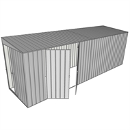 Build-a-Shed 1.5 x 6 x 2m Tunnel Shed Tunnel Sliding Door Plus Double Hinged Doors - Zinc