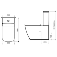 Caroma WELS 4 Star Cube Close Coupled Wall Faced Toilet Suite