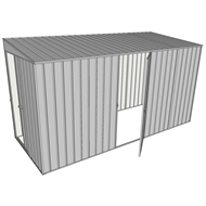 Build-a-Shed 1.5 x 3.7 x 2m Sliding Door Tunnel Shed with Hinged Side Door - Zinc