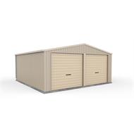 Absco Sheds 6.0 x 6.0 x 3.02m Double Garage With Classic Cream Roller Doors - Paperbark with Classic Cream roller doors