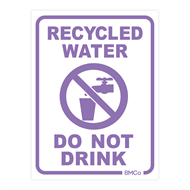 Rain Harvesting 100 x 75mm White/Lilac Metal Recycled Water Do Not Drink Sign
