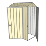 Build-a-Shed 0.8 x 1.5 x 2.3m Gable Single Hinged Door Shed with Single Hinged Side Door - Cream