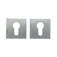 Delf 50 x 50mm Satin Chrome Square Euro Escutcheon Pair
