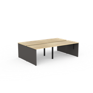 CeVello 1200 x 750mm Oak And Charcoal Four User Double Sided Desk