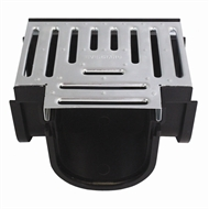 Everhard EasyDRAIN Black Polymer Tee Piece with Galvanised Metal Grate