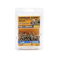 Zenith 8G x 25mm Gold Passivated Countersunk Ribbed Head Chipboard Screws - 100 Pack