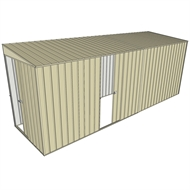 Build-a-Shed 1.5 x 5.2 x 2m Sliding Door Tunnel Shed with Sliding Side Door - Cream