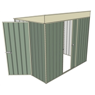 Build-a-Shed 1.5 x 2.3 x 2m Narrow Single Hinged Door Skillion Shed with Single Sliding Doors - Green