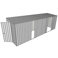 Build-a-Shed 1.5 x 6 x 2m Sliding Door Tunnel Shed with 3 Sliding Side Doors - Zinc