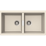Abey 850 x 442mm White Schock Cristadur Double Sink