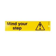 Sandleford 245 x 58mm Mind Your Step Silver Self Adhesive Sign