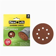 Flexovit 125mm 120 Grit 8 Hole All Surface Orbital Sanding Disc - 5 Pack