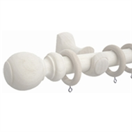 Windoware 33mm x 160cm Wooden White Curtain Rod Set