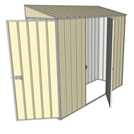 Build-a-Shed 0.8 x 2.3 x 2m Hinged Door Tunnel Shed with Single Hinged Side Door - Cream