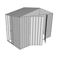 Build-a-Shed 3.0 x 1.5 x 2.3m Double Hinge and Single Sliding Door Narrow Shed - Zinc