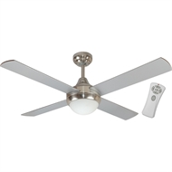 Mercator 120cm Brushed Chrome Glendale Ceiling Fan With Light And Remote