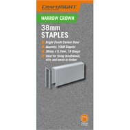 Craftright 38mm Narrow Crown Staples - 1000 Pack