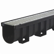 Everhard EasyDRAIN 100mm x 1m Black Polymer Channel with Pressed Galvanised Metal Grate