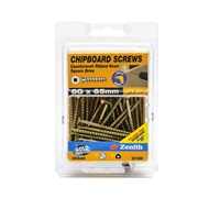 Zenith 8g x 65mm Countersunk Ribbed Head Square Drive Chipboard Screws - 50 Pack