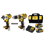 DeWALT 18V XR Brushless Combi Drill And Impact Driver Kit With 2 3.0Ah Batteries