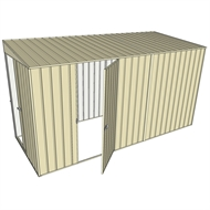 Build-a-Shed 1.5 x 3.7 x 2m Single Hinged Side Door Skillion Shed - Cream