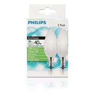 Philips 28w Frost Small Edison Screw EcoClassic Candle Globe - 2 Pack