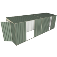 Build-a-Shed 1.5 x 6 x 2m Skillion Double and Single Sliding Side Doors Shed - Green