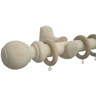 Windoware 260cm x 33mm Natural Wooden Curtain Rod Set