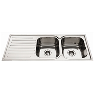 Everhard 1180mm Squareline 2 Bowl Right Hand Kitchen Sink With Drainer