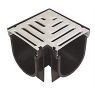 Everhard EasyDRAIN Black Polymer Corner With 100mm Galvanised Metal Grate