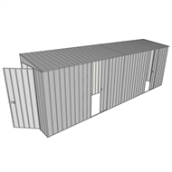 Build-A-Shed 1.2 x 6.0 x 2.0m Zinc Skillion Dual Single Sliding Side Doors Shed - Zinc