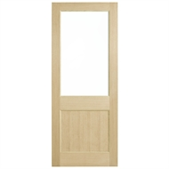 Corinthian Doors 920 x 2340 x 40mm Blonde Oak AWO 2G Clear Glass Entrance Door