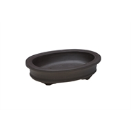 Northcote Pottery 15 x 13 x 3cm Small Dark Clay Dento Oval Bonsai Pot
