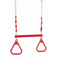 Swing Slide Climb Red Plastic Trapeze With Rings