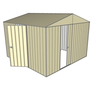 Build-a-Shed 3 x 3 x 2.3m Gable Single Sliding Door Shed with Hinged Side Door - Cream